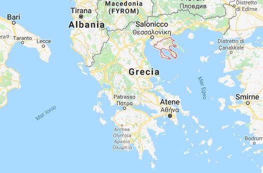 mappa penisola calcidica in grecia